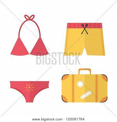 Flat design summer beach vacation set. Swimsuit, swim briefs, suitcase.