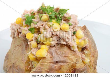 Baked potato stuffed with tuna, sweetcorn and mayonnaise