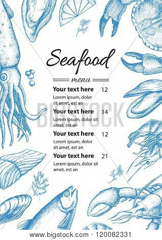 Vector Vintage Seafood Restaurant Menu  Illustration. Hand Drawn