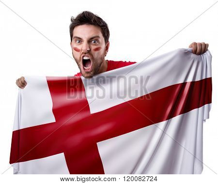 Fan holding the flag of England on white background