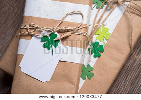 gift box with shamrock