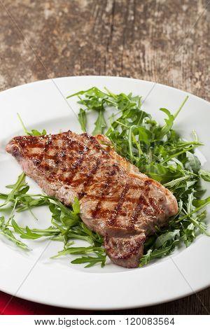 Grilled Loin Steak On Rocket Salad