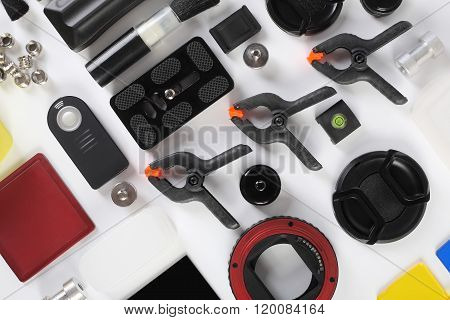 Workplace Of The Photographer. Photoaccessories