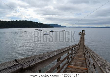 narrow old pier, Orcas island