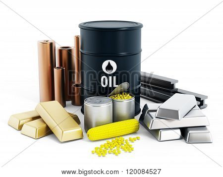 Commodities including crude oil gold silver copper platinum and corn
