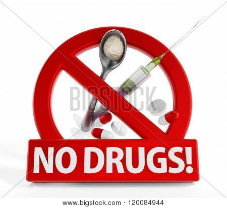 No drugs sign heroine syringe and pills isolated on white background
