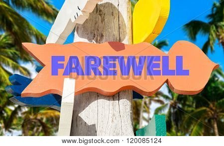 Farewell sign with palm trees