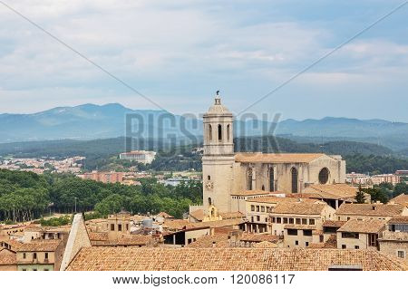 View Over The Old Center Of Girona, Catalonia