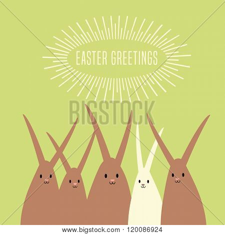 Easter greeting card design with large group of happy rabbits bunnies