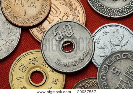 Coins of Japan. Japanese 50 yen coin.