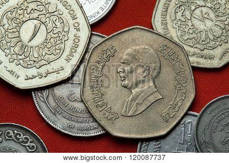 Coins of Jordan. King Hussein bin Talal of Jordan depicted in the Jordanian one dinar coin.