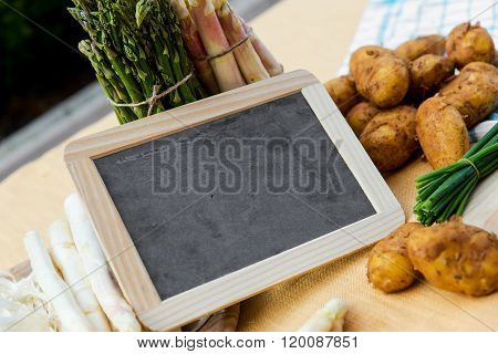 Asparagus, Potatoes, Empty Blackboard