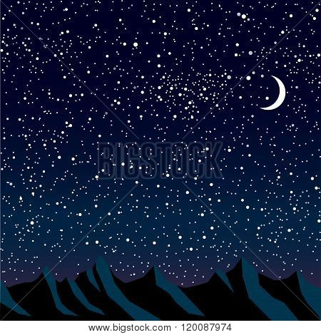 Silhouette of mountains. Starry Sky. Eps 10.