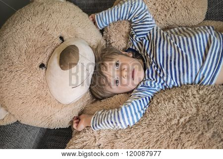 Little Kid Hanging Out With His Teddy