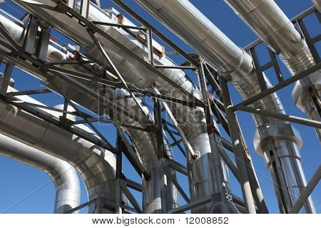 Steam pipework at a geothermal power station