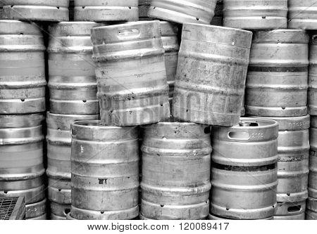 Black And White Beer Kegs
