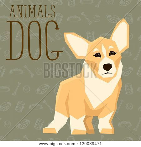 Vector geometric dogs collection with seamless background. Welsh Corgi
