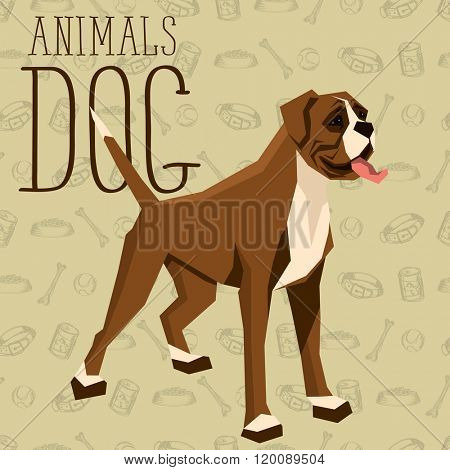 Vector geometric dogs collection with seamless background. Boxer