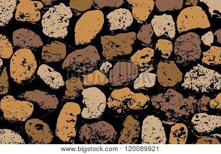 Vector Texture Of Multicolored Stone Coquina Wall In Cement. Vector Illustration
