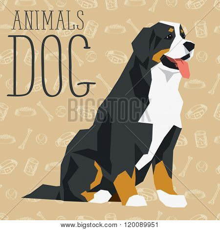 Vector geometric dogs collection with seamless background. Bernese mountain dog