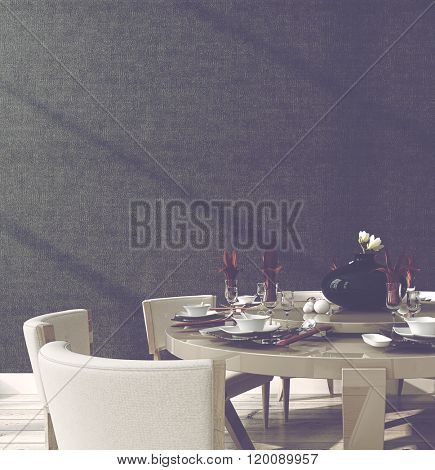 Stylish formal circular table setting with a modern design dining suite laid with dinnerware, linen and glasses around a central carousel, close up with a black wall background, 3d rendering