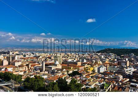 Wide panoramic view of Cagliari from Castello walls, Sardinia