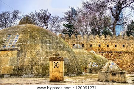 Round roofs of ancient public baths in Baku