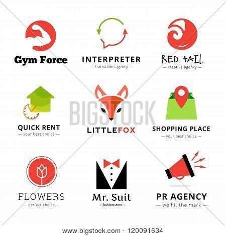 Set of vector bright modern logos.