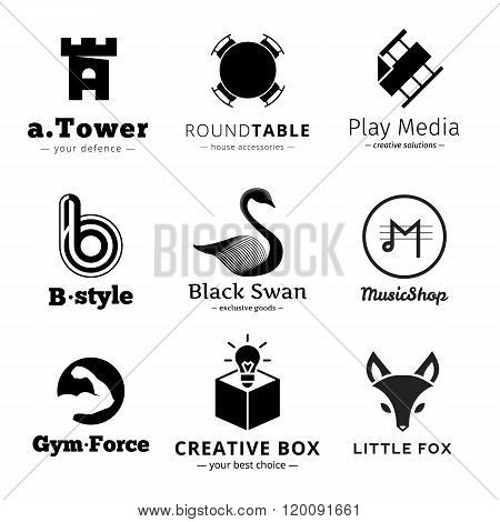 Set of vector minimalistic black and white logos.