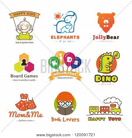 Set of vector children goods logos.