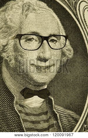 Happy hipster nerd George Washington wears glasses