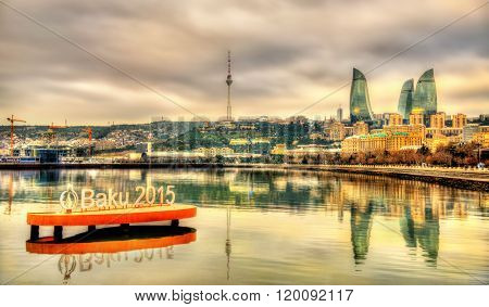 Emblem of 'Baku 2015' European Games in the Caspian Sea near Baku on January 7, 2016.