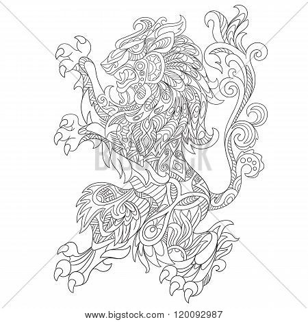 Zentangle Stylized Wild Lion Animal
