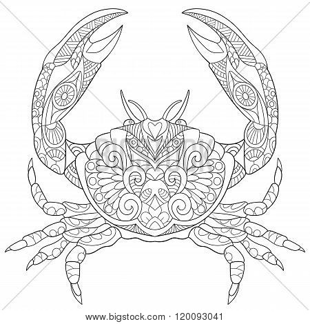 Zentangle Stylized Crab