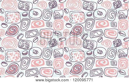 Seamless vector illustration pattern with hand drawn turkish delights set and pistachios.