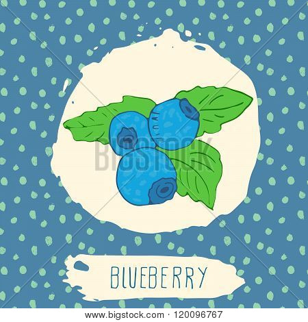 Blueberry Hand Drawn Sketched Fruit With Leaf On Blue Background With Dots Pattern. Doodle Vector Bl