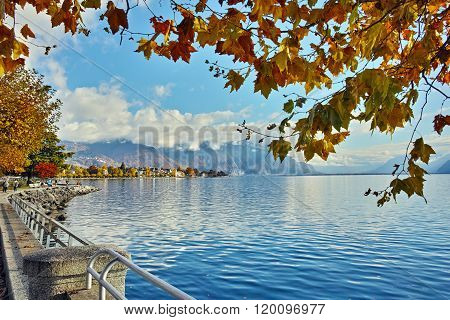 Panorama of embankment of town of Vevey and Lake Geneva, canton of Vaud, Switzerland