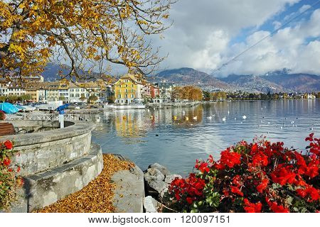 Flowers in embankment of town of Vevey and Lake Geneva, Switzerland