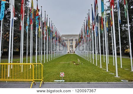 United nations building with flags, Geneva, Switzerland