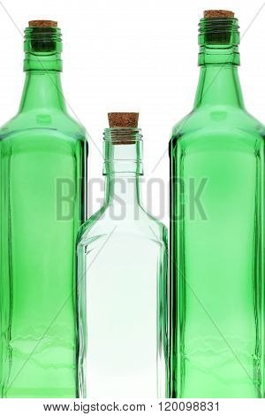Empty glass bottles with stopper