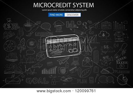 Microcredt Systtem concept with Doodle design style :finding money, fcrowfunding, social business. Modern style illustration for web banners, brochure and flyers.