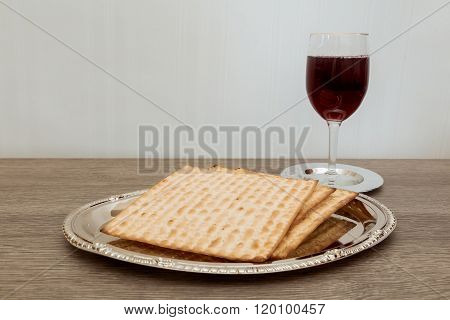 Still-life With Winewine, wooden   And Matzoh Jewish Passover Bread