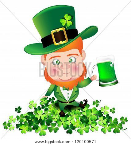 Irish Man Irish Man Hold Beer On Shamrock For St. Patrick's Day Card