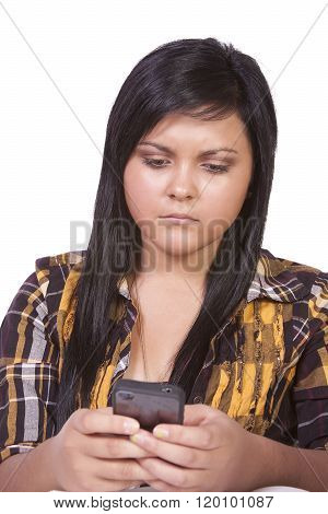 Concerned Teenage Girl Texting