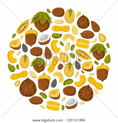 Round nuts and seeds background