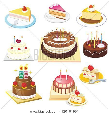 Vector Birthday Cake Illustration Set Collection