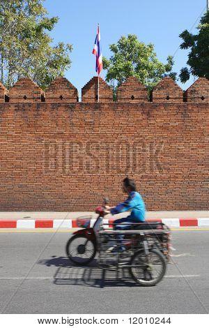 Detail of the city wall near Tha Pae Gate, Chiang Mai, Thailand