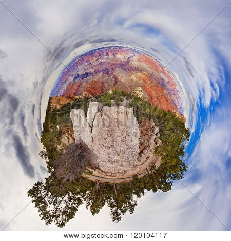 Little planet view on Grand Canyon USA