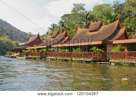 Forest Resort On River Kwai In Kanchanaburi, Thailand.