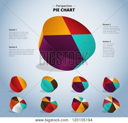 3D Pie Chart Infographic For Used Presentation. Vector Illustration.